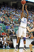 UNC forward Jessica Breland shoots a three-pointer in the second half. Breland scored 28 total points. This game was one of the two Semifinal games of the 2011 ACC Tournament in Greensboro on Saturday, March 5, 2011. UNC beat Miami 83-57. (Photo by Al Drago)