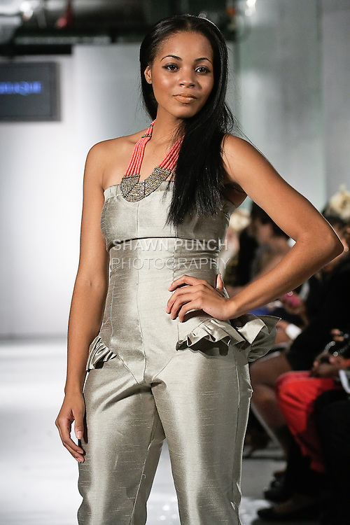 Model walks the runway in an outfit by Janelle Angelique Forde, from her J. Angelique Clothing Spring Summer 2012 collection, during BK Fashion Weekend Spring Summer 2012.