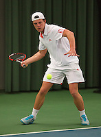 Rotterdam, The Netherlands, 15.03.2014. NOJK 14 and 18 years ,National Indoor Juniors Championships of 2014, Stijn Kits (NED)<br /> Photo:Tennisimages/Henk Koster