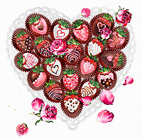 Decorated chocolate coated strawberries in heart shape