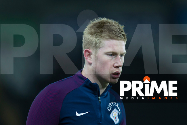 Kevin De Bruyne of Manchester City warms up ahead of the EPL - Premier League match between Swansea City and Manchester City at the Liberty Stadium, Swansea, Wales on 13 December 2017. Photo by Mark  Hawkins / PRiME Media Images.