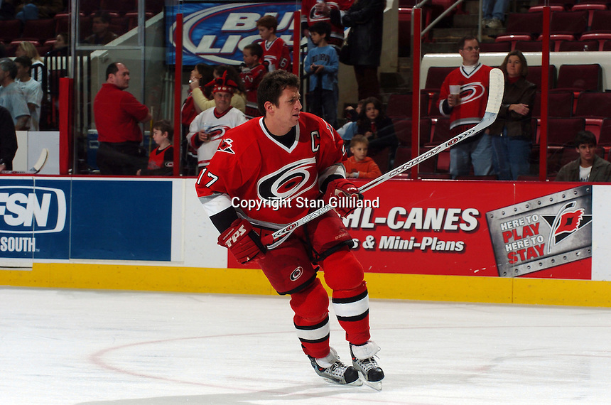 Carolina Hurricanes' captain Rod Brind'Amour warms up prior to a game with the Florida Panthers Friday, Dec. 23, 2005 in Raleigh, NC. Carolina won 4-3.