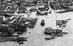 The intersection of Bank and West Liberty Streets in Waterbury during the August 1955 flood.
