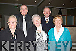 SPRIT: Getting into the sprit of Christmas at the Elvis and DJ Curtin Christmas show  & Dinner in the Earl of Desmond Tralee on Saturday night. L-r: Angela and Barney Larnon,. Kathleen,Michael and Eileen Whelan..... . ............................... ..........