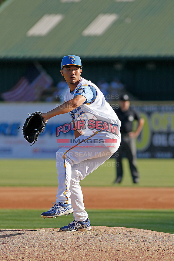 Myrtle Beach Pelicans pitcher Jen-Ho Tseng (19) on the mound during a game against the Carolina Mudcats at Ticketreturn.com Field at Pelicans Ballpark on June 7, 2015 in Myrtle Beach, South Carolina. Myrtle Beach defeated Carolina 4-1. (Robert Gurganus/Four Seam Images)