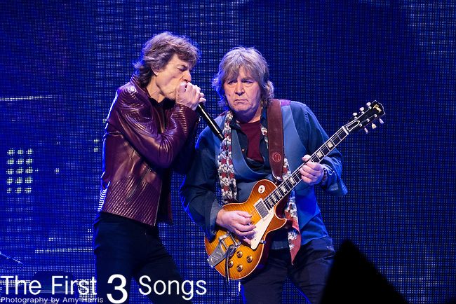 Mick Jagger and Mick Taylor of The Rolling Stones performs at TD Garden in Boston, Massachusetts.