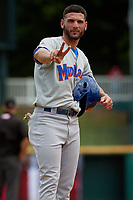 Midland RockHounds Luis Barrera (22) gestures to the camera during a Texas League game against the Frisco RoughRiders on May 21, 2019 at Dr Pepper Ballpark in Frisco, Texas.  (Mike Augustin/Four Seam Images)