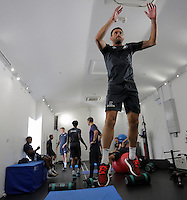 Pictured: Angel Rangel works out in the gym Wednesday 14 September 2016<br /> Re: Swansea City FC training at Fairwood, Wales, UK
