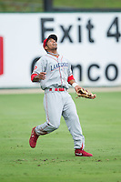Lakewood BlueClaws left fielder Samuel Hiciano (23) calls for a fly ball during the game against the Kannapolis Intimidators at CMC-NorthEast Stadium on July 20, 2014 in Kannapolis, North Carolina.  The Intimidators defeated the BlueClaws 7-6. (Brian Westerholt/Four Seam Images)