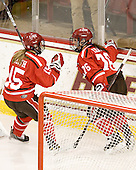Rylee Smith (SLU - 15), Karell Emard (SLU - 76) - The Boston College Eagles defeated the visiting St. Lawrence University Saints 6-3 (EN) in their NCAA Quarterfinal match on Saturday, March 10, 2012, at Kelley Rink in Conte Forum in Chestnut Hill, Massachusetts.
