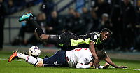 Bury's Leon Barnett falls on top of Bolton Wanderers' Adam Le Fondre<br /> <br /> Photographer Alex Dodd/CameraSport<br /> <br /> The EFL Sky Bet League One - Bolton Wanderers v Bury - Tuesday 18th April 2017 - Macron Stadium - Bolton<br /> <br /> World Copyright &copy; 2017 CameraSport. All rights reserved. 43 Linden Ave. Countesthorpe. Leicester. England. LE8 5PG - Tel: +44 (0) 116 277 4147 - admin@camerasport.com - www.camerasport.com