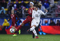 Columbus, Ohio - Thursday March 01, 2018: Alex Morgan, Sara Däbritz during a 2018 SheBelieves Cup match between the women's national teams of the United States (USA) and Germany (GER) at MAPFRE Stadium.