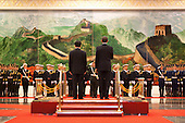 Beijing, China - November 17, 2009 -- United States President Barack Obama and Chinese President Hu Jintao participate in an official arrival ceremony at the Great Hall of the People in Beijing, China, Tuesday, November 17, 2009. .Mandatory Credit: Pete Souza - White House via CNP