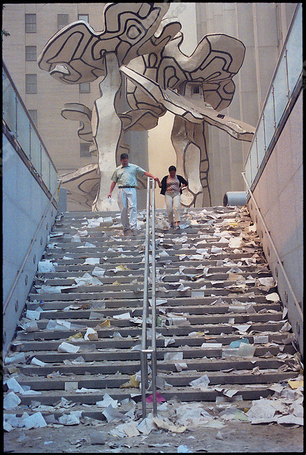 Attack on the World Trade Center, Chase Manhattan Plaza, sculpture by Jean Dubuffet at top of stairs. New York City, New York, USA, September 11, 2001.