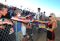 Apr 16, 2011; Surprise, AZ USA; LOORRS fans grandstands rockstar girl during round 3 at Speedworld Off Road Park. Mandatory Credit: Mark J. Rebilas-