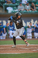 Axel Andueza (14) of the Missoula Osprey at bat against the Ogden Raptors at Lindquist Field on August 12, 2019 in Ogden, Utah. The Raptors defeated the Osprey 4-3. (Stephen Smith/Four Seam Images)