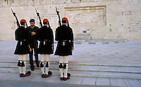 01 NOV 2003 - ATHENS, GREECE - An officer checks an Evzones uniform at the Changing of the Guard ceremony at the Tomb of the Unknown Soldier. (PHOTO (C) NIGEL FARROW)