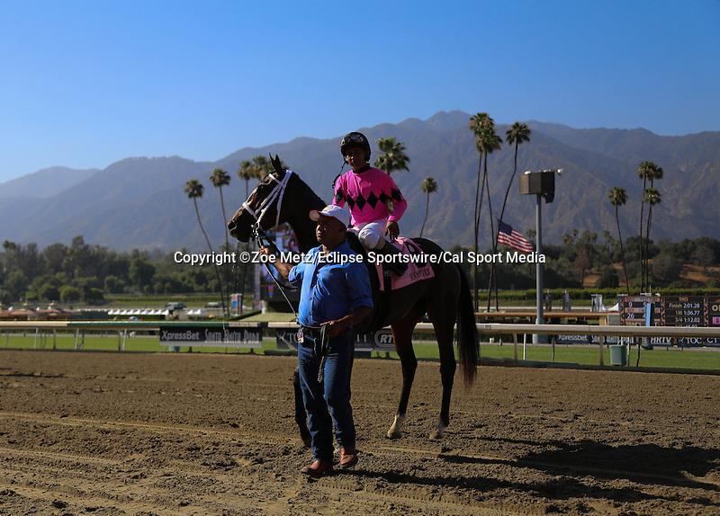 May 31, 2014: Room Service with Shaun Bridgmohan aboard wins the Grade I American Oaks at Santa Anita Arcadia Ca. Zoe Metz/ESW/CSM