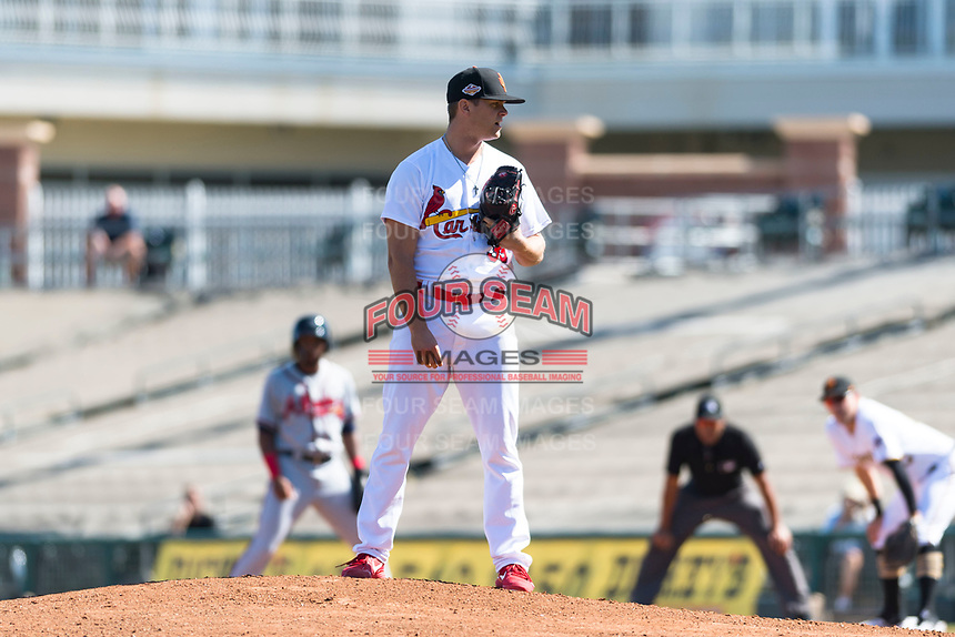Surprise Saguaros relief pitcher Connor Jones (39), of the St. Louis Cardinals organization, looks in for the sign during an Arizona Fall League game against the Peoria Javelinas at Surprise Stadium on October 17, 2018 in Surprise, Arizona. (Zachary Lucy/Four Seam Images)