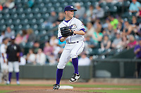 Winston-Salem Dash starting pitcher Aron McRee (12) in action against the Buies Creek Astros at BB&T Ballpark on April 15, 2017 in Winston-Salem, North Carolina.  The Astros defeated the Dash 13-6.  (Brian Westerholt/Four Seam Images)