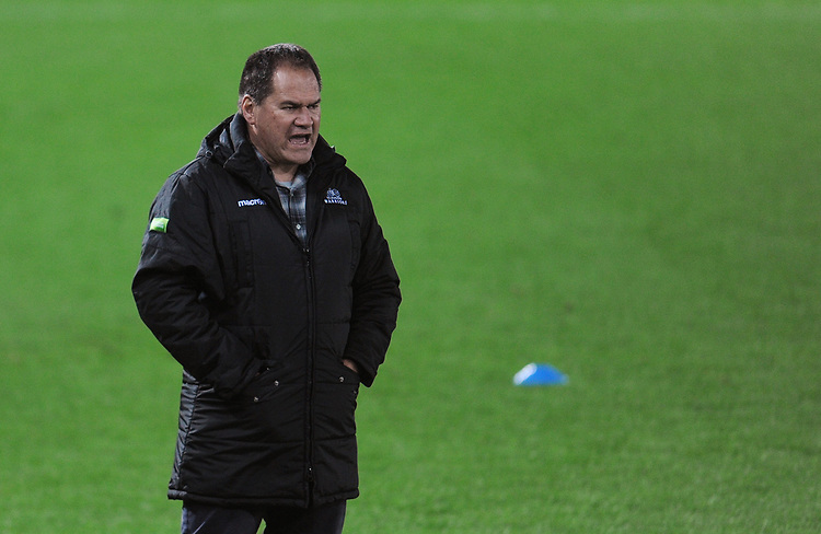 Glasgow Warriors' Head Coach Dave Rennie during the pre match warm up<br /> <br /> Photographer Kevin Barnes/CameraSport<br /> <br /> Guinness Pro14 Round 8 - Ospreys v Glasgow Warriors - Friday 2nd November 2018 - Liberty Stadium - Swansea<br /> <br /> World Copyright © 2018 CameraSport. All rights reserved. 43 Linden Ave. Countesthorpe. Leicester. England. LE8 5PG - Tel: +44 (0) 116 277 4147 - admin@camerasport.com - www.camerasport.com