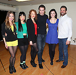 Elle McLemore, Alice Lee, Jessica Keenan Wynn, Ryan McCartan, Barrett Wilbert Weed and Anthony Crivello attend the Meet & Greet the stars and creative team of 'Heathers The Musical' on February 19, 2014 at The Snapple Theatre Center in New York City.