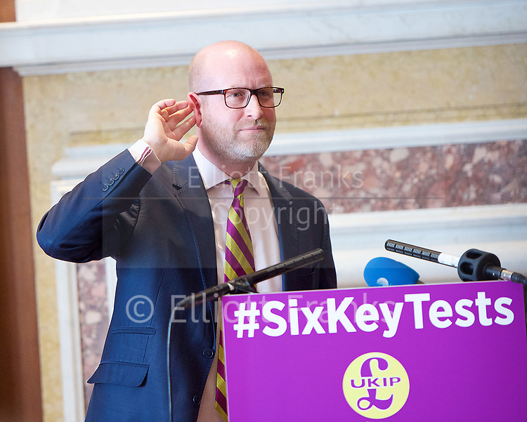Paul Nuttall MEP <br /> UKIP Leader makes a Brexit speech #SixKeysTests at the Marriott Hotel, London, Great Britain <br /> 27th March 2017 <br /> <br /> Ahead of the Prime Minister triggering Article 50 next week, UKIP Leader Paul Nuttall sets out six key tests by which the country can judge Theresa May's Brexit negotiations in a keynote speech on this coming Monday morning.<br /> <br /> <br /> <br />  <br /> Photograph by Elliott Franks <br /> Image licensed to Elliott Franks Photography Services