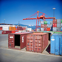 Vancouver, BC, British Columbia, Canada - Container Terminal at Port of Vancouver Harbour Waterfront