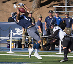 Nevada's Elijah Cooks can't make the catch in the end zone during the Nevada vs Weber State football game in Reno, Nevada on Saturday, Sept. 14, 2019.
