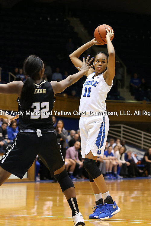 07 January 2016: Duke's Azura Stevens (11) and Wake Forest's Milan Quinn (32). The Duke University Blue Devils hosted the Wake Forest University Demon Deacons at Cameron Indoor Stadium in Durham, North Carolina in a 2015-16 NCAA Division I Women's Basketball game. Duke won the game 95-68.