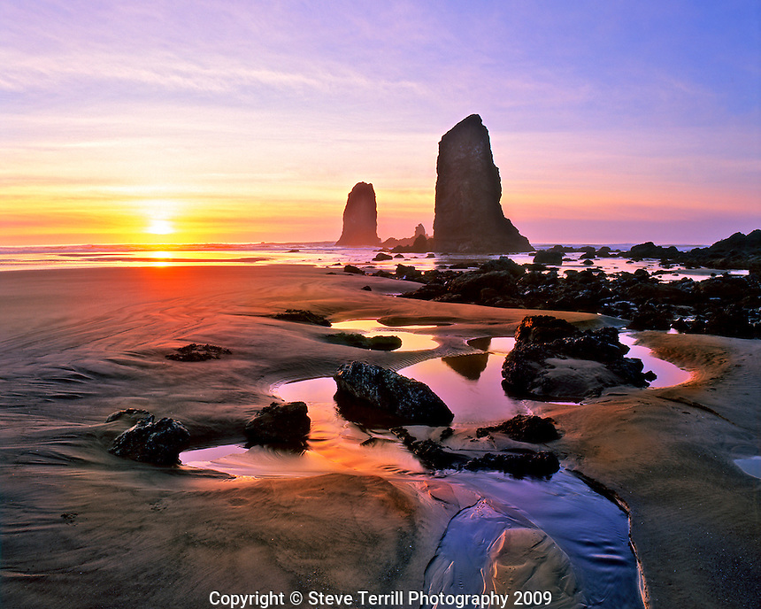 Sunset at the Needles at Cannon Beach Oregon
