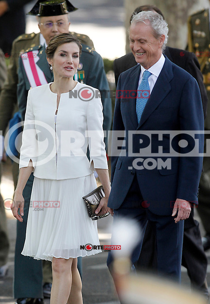 Queen Letizia of Spain with Pedro de Morenes, Minister of Defense of the Government of Spain during the 2015 Armed Forces Day Ceremony at the Plaza de la Lealtad. June 6,2015. (ALTERPHOTOS/Acero)