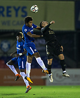 Richard NARTEY of Chelsea & Josh Gordon of Leicester City U23 during the Under 23 Premier League 2 match between Chelsea U23 and Leicester City U23 at the Electrical Services Stadium, Aldershot, England on 2 February 2018. Photo by Andy Rowland / PRiME Media Images.