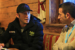 Bode Miller in family at Paganella in Trentino, Italy to present Bomber skis.. US Olympic Bode Miller in family with his wife Morgan Beck and journalists are seen at the Paganella, in Trentino, on February 3, 2017.