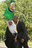 United States President Barack Obama (R) welcomes Abdul Latif bin Rashid Al Zayani, Secretary General of the Gulf Cooperation Council, to the White House May 13, 2015 in Washington, DC. Obama is hosting a summit of Persian Gulf countries in Washington and at Camp David tomorrow.  <br /> Credit: Chip Somodevilla / Pool via CNP