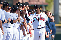 Peoria Javelinas center fielder Cristian Pache (27), of the Atlanta Braves organization, during player introductions before the Arizona Fall League Championship game against the Salt River Rafters at Scottsdale Stadium on November 17, 2018 in Scottsdale, Arizona. Peoria defeated Salt River 3-2 in 10 innings. (Zachary Lucy/Four Seam Images)