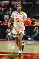 College Park, MD - March 23, 2019: Maryland Terrapins guard Kaila Charles (5) looks to pass the ball during game between Radford and Maryland at  Xfinity Center in College Park, MD.  (Photo by Elliott Brown/Media Images International)
