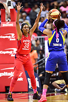 Washington, DC - August 12, 2018: Washington Mystics forward LaToya Sanders (30) plays defense against Dallas Wings forward Kayla Thornton (6) during game between the Washington Mystics and the Dallas Wings at the Capital One Arena in Washington, DC. (Photo by Phil Peters/Media Images International)