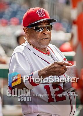 8 July 2017: Washington Nationals Manager Dusty Baker awaits the start of play prior to a game against the Atlanta Braves at Nationals Park in Washington, DC. The Braves shut out the Nationals 13-0 to take the third game of their 4-game series. Mandatory Credit: Ed Wolfstein Photo *** RAW (NEF) Image File Available ***