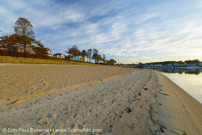 Onset Bay in Onset Village in Wareham, Massachusetts on a cloudy autumn day.