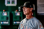 26 September 2018: Miami Marlins Manager Don Mattingly watches play from the dugout during a game against the Washington Nationals at Nationals Park in Washington, DC. The Nationals defeated the visiting Marlins 9-3, closing out Washington's 2018 home season. Mandatory Credit: Ed Wolfstein Photo *** RAW (NEF) Image File Available ***