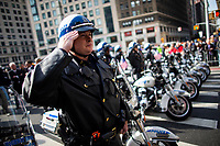NEW YORK, USA - November 11: NYPD patrol members attend the 100 Veterans Day parade on November 11, 2019 in New York, USA. President Donald Trump, the first sitting U.S. president attended New York's parade, where he offered a tribute to veterans ahead of the 100th annual parade  (Photo by Eduardo MunozAlvarez/VIEWpress)