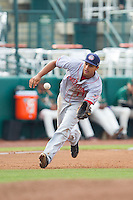 Hagerstown Suns third baseman Drew Ward (11) charges a ground ball during the game against the Greensboro Grasshoppers at NewBridge Bank Park on May 20, 2014 in Greensboro, North Carolina.  The Grasshoppers defeated the Suns 5-4. (Brian Westerholt/Four Seam Images)