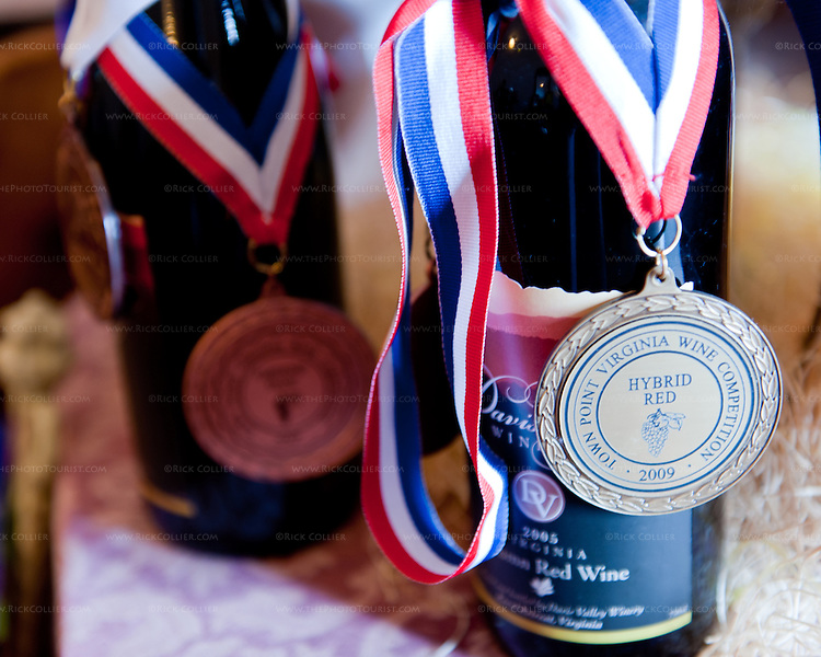 Award winners on display in the tasting room at Davis Valley Winery.