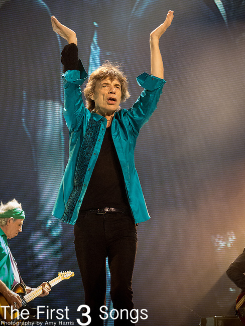 Mick Jagger of The Rolling Stones performs at TD Garden in Boston, Massachusetts.