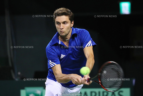 Gilles Simon (FRA), <br /> FEBRUARY 3, 2017 - Tennis : <br /> 2017 Davis Cup World Group First Round <br /> between Japan - France <br /> at Ariake Coliseum, Tokyo, Japan. <br /> (Photo by YUTAKA/AFLO SPORT)