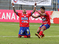 PASTO - COLOMBIA -21-08-2016: Los jugadores de Deportivo Pasto celebran el gol anotado a Atletico Huila, durante partido Deportivo Pasto y Atletico Huila, por la fecha 9 de la Liga Aguila II 2016, jugado en el estadio Departamental Libertad de la ciudad de Pasto.  / The players of Deportivo Pasto celebrate a scored goal to Atletico Huila, during a match Deportivo Pasto and Atletico Huila, for the date 9 of the Liga Aguila I 2016 at the Departamental Libertad stadium in Pasto city. Photo: VizzorImage. / Leonardo Castro / Cont.