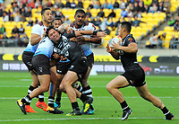 New Zealand's Roger Tuivasa-Shreck takes a pass from New Zealand's Jordan Rapana during the 2017 Rugby League World Cup quarterfinal match between New Zealand Kiwis and Fiji at Westpac Stadium in Wellington, New Zealand on Saturday, 18 November 2017. Photo: Mike Moran / lintottphoto.co.nz