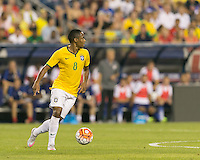 Foxborough, Massachusetts - September 8, 2015: In an international friendly match, Brazil (yellow/white) defeated USMNT (blue) , 4-1, at Gillette Stadium.