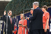 Louis J. Freeh is sworn-in as FBI Director in Washington, DC on September 1, 1993.  From left to right: FBI Director Louis J. Freeh, Mrs. Louis J. Freeh (Marilyn), United States President Bill Clinton, [unidentified Judge], and Attorney General Janet Reno.<br /> Credit: Ron Sachs / CNP